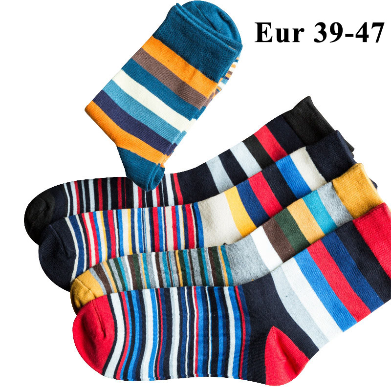 10PCS=5pairs Mens Cotton Dress   Socks   Plus Large Big Size 44, 45, 46, 47, Chromatic Stripe   Socks   Calcetines Happy Funny Sox Meias