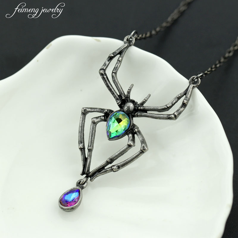 Black Spider Green crystal Gothic Punk Retro Stainless Steel Pendant Necklace Women s Jewelry Halloween Costume