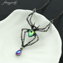 Black Spider Green crystal Gothic Punk Retro Stainless Steel Pendant Necklace Women 's Jewelry Halloween Costume Accessories