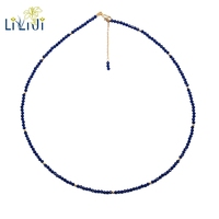 Lii Ji Lab Created Sapphire 2mm 925 Sterling Silver 18K Gold Plated Choker Sparkling Necklace Delicate Jewelry Female Necklace
