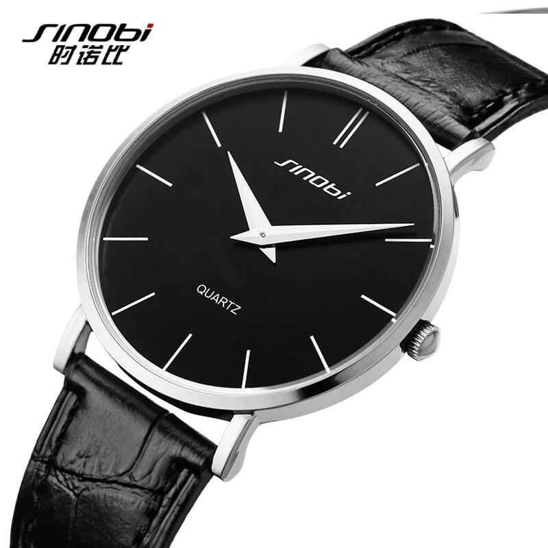 SINOBI Super Slim Quartz Casual Wristwatch Business Brand Genuine Leather Analog Quartz font b Watch b