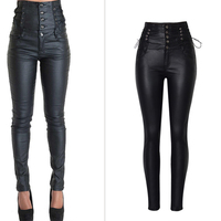 Olrain Lace Up Black Leather Pants Women Autumn Winter 2017 Sexy Paperbag High Waist Elasticity Pencil