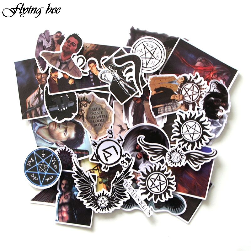 Image 2 - Flyingbee 37 Pcs Supernatural Sticker Graffiti Punk Stickers for DIY Sticker on Travel case Laptop Skateboard Fridge X0029-in Stickers from Consumer Electronics