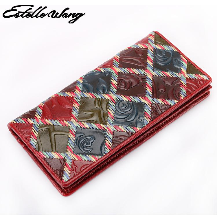 Colorful Spell Color Wallet Vintage Frist Layer Genuine Leather Long Wallets Multi-purpose Large Capacity Womens Feminina Purses brand double zipper genuine leather men wallets with phone bag vintage long clutch male purses large capacity new men s wallets