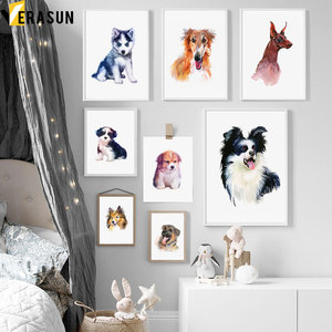 Samoyed Butterfly Doberman Husky Akita Dog Wall Art Canvas Painting Nordic Posters And Prints Wall Pictures Baby Kids Room Decor