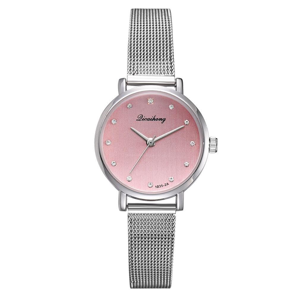 Women's Pink Watches Luxury Silver Metal Belt Watches Bracelet Relogio Feminino Clock Gift Wristwatch Fashion Bayan Kol Saati