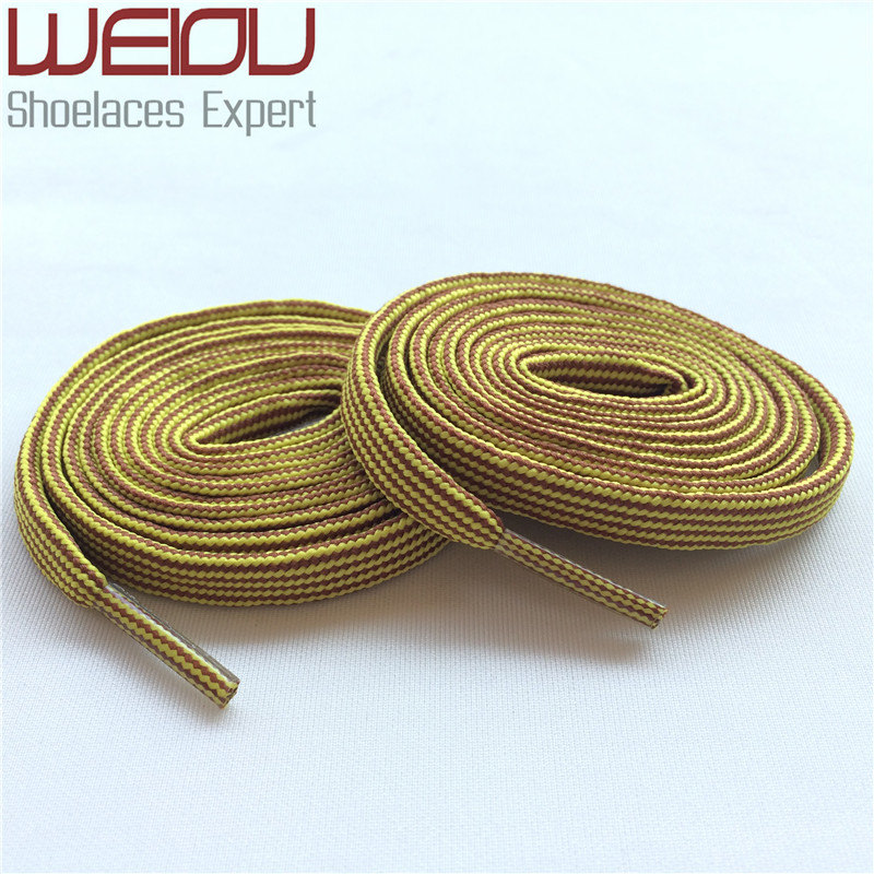 (30Pairs/Lot)Weiou heavy duty personalized shoelace Flat Yellow brown hiking boot laces replacement platube laces for Wholesales