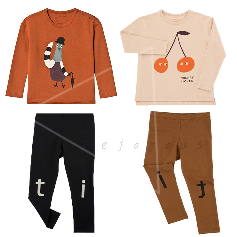 Kids Clothes Sets Tiny Cottons Baby Boys Long Sleeve T-shirt Cherry Pigeon Graphic Tops Tee Shirts Girls Leggings Pants Suits kids graphic printed tee with shorts