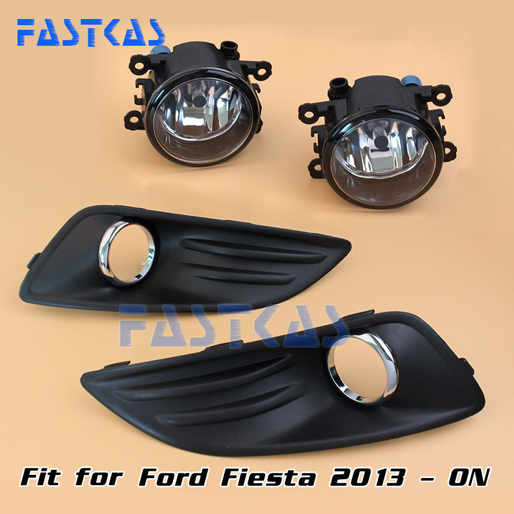 12v 55W Car Fog Light Assembly for Ford Fiesta 2013 2014 Front Fog Light Lamp with Harness Relay Fog Light 12v 55w car fog light assembly for ford focus hatchback 2009 2010 2011 front fog light lamp with harness relay fog light