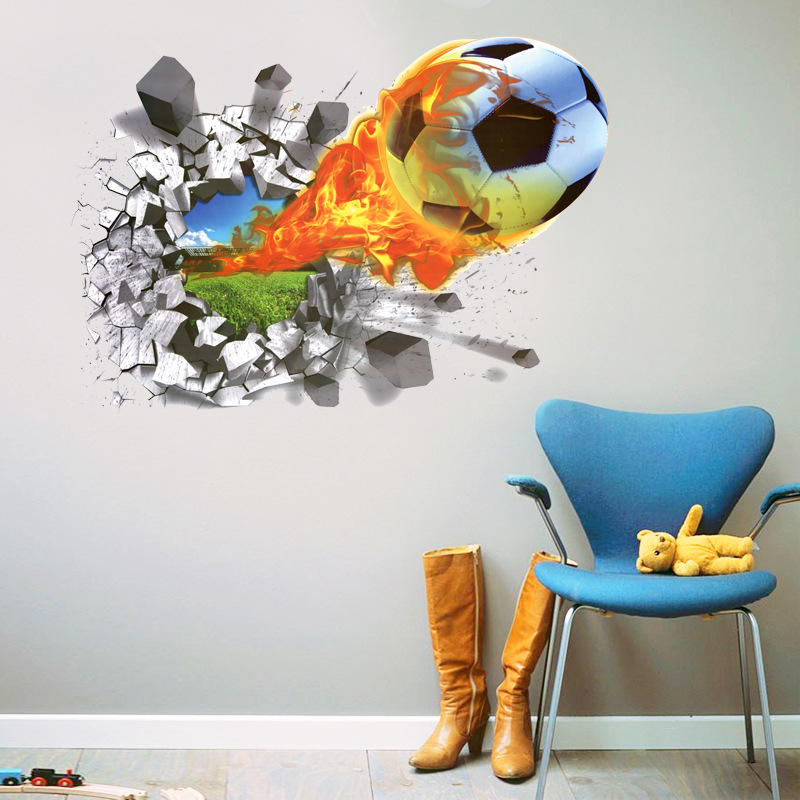 football 3d wall stickers for kids room waterproof home decor decoration bedroom garden accessories supplies gear