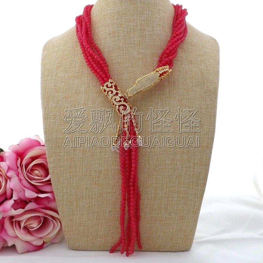 N091204 collier pendentif 7 brins 18 ''pierre rouge Dragon CZ