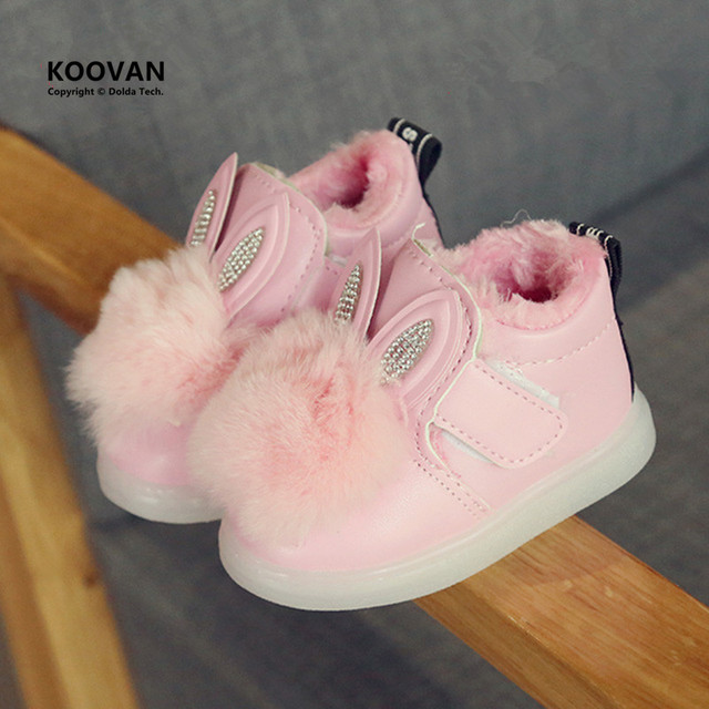 Luces koovan botas shoes girls 2017 de los niños del bebé shoes suela blanda niño orejas de conejo botas de nieve de algodón caliente