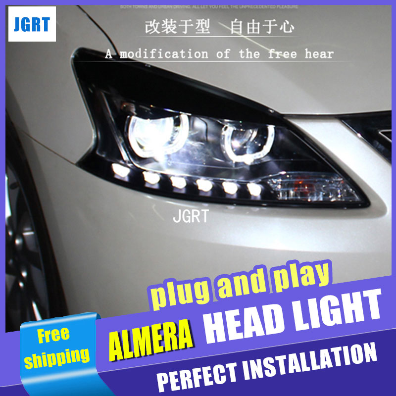 Car Styling LED Head Lamp for Nissan Almera headlights 2013 Sentra led headlight Sylphy drl H7 hid Bi-Xenon Lens low beam hireno headlamp for 2013 2015 nissan tiida headlight assembly led drl angel lens double beam hid xenon 2pcs