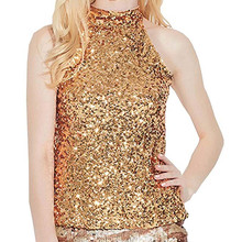 Fashion Tank Top Women Sexy Sequins Embellished Sleeveless Womens Clothing  Streetwear Summer Tank Top Sparkle Vest 732ed0bffb01
