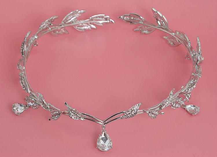 HTB1RsQTLVXXXXboXXXXq6xXFXXXZ Enchanting Nymph Rhinestone Leaf Bridal Tiara With Water Drop Charms