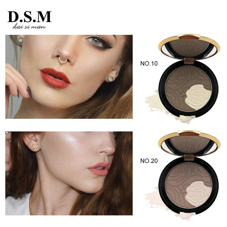 D.S.M Nova Marca Pó Bronzer 2 Cores Maquiagem Clarear A Cobertura Completa de Sombreamento Em Pó Controle de Óleo-Base de Maquiagem Pó Bronzeador