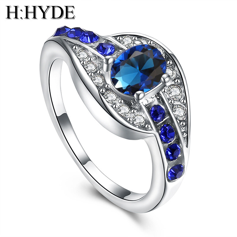 Unique Engagement Rings For Women: H:HYDE Unique Fine Jewelry Blue Oval Zircon Stone Ring