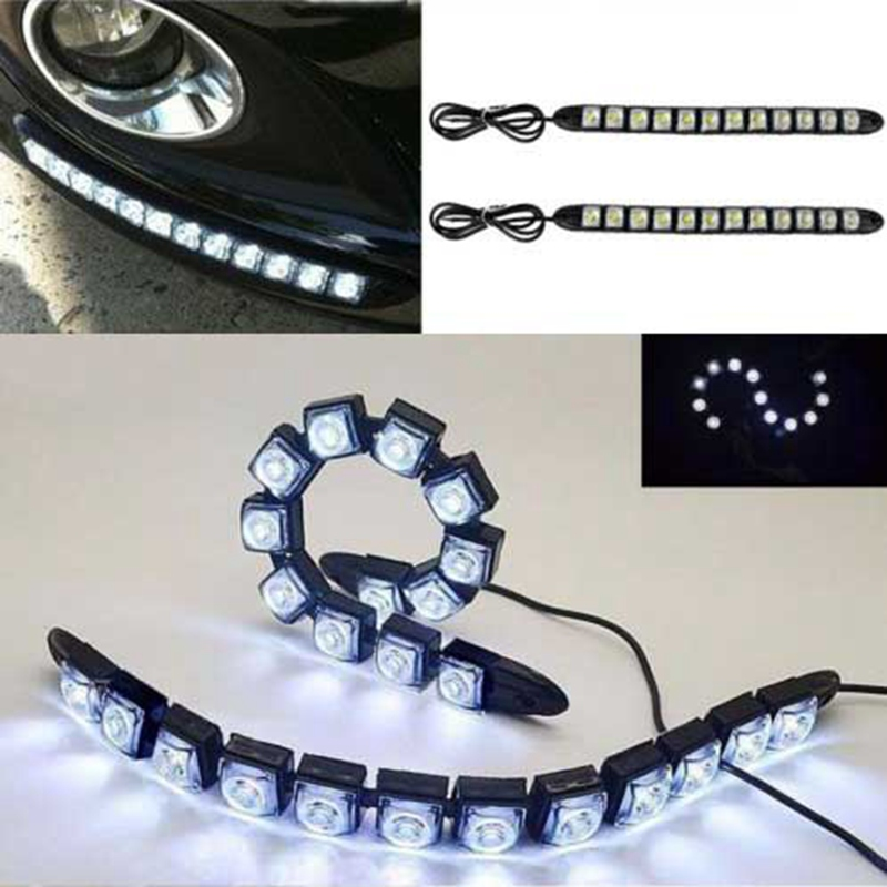 Mayitr 2pcs Waterproof 12 LED Soft Strip DRL Light Car Eagle Eye Daytime Running Fog Lamp White Lights DC 12V Car Styling auto super bright 3w white eagle eye daytime running fog light lamp bulbs 12v lights car light auto car styling oc 25