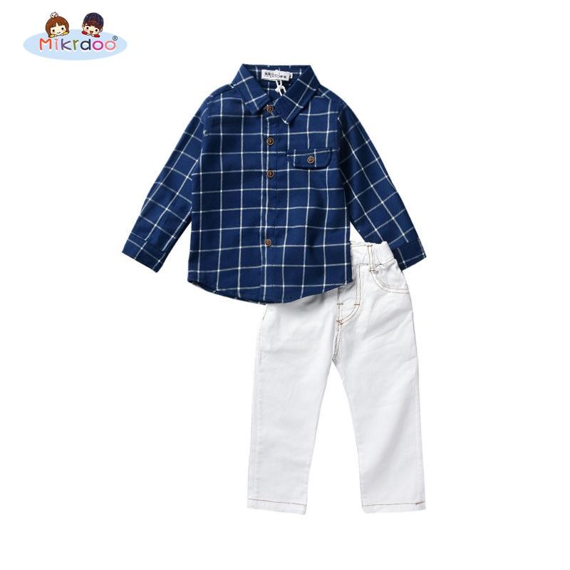 5ad4e4566 Meninos roupas crianças xadrez de manga longa camisa calças terno moda  popular roupa elegante conjunto de roupas casuais crianças traje de algodão