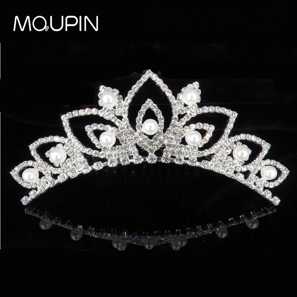 MQUPIN Fashion Crystal Simulated Pearls Tiaras and Crowns Wedding Hair Accessories Bride Diadem Ornaments Queen Princess jewelry