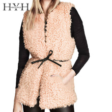 HYH HAOYIHUI Sleeveless Coat Woman 2018 Autumn Faux Wool Fur Waist Tie High Street Personality Chinese Prairie Style