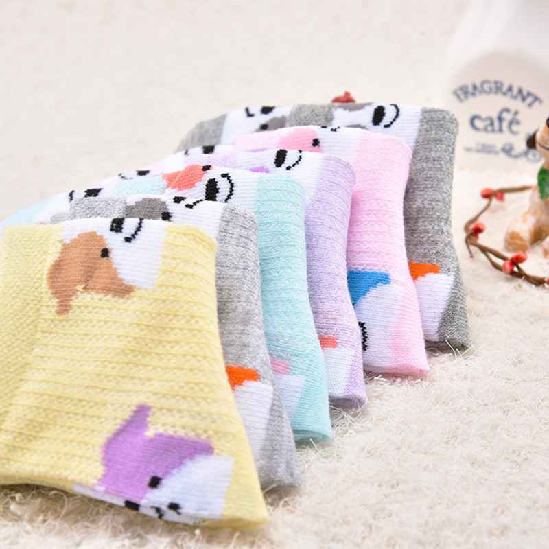 T.H.L.S Girls Socks 5 Pairs Kids Cotton Animals Cat Bear Toddler Crew Socks 1-11 Year