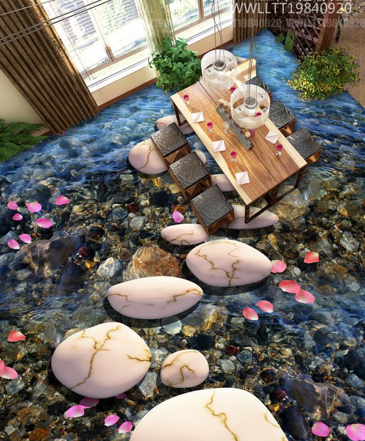 Custom 3d floor murals 3d stereoscopic floor wallpaper pebble stone self-adhesive waterproof PVC wallpaper 3d floor tiles