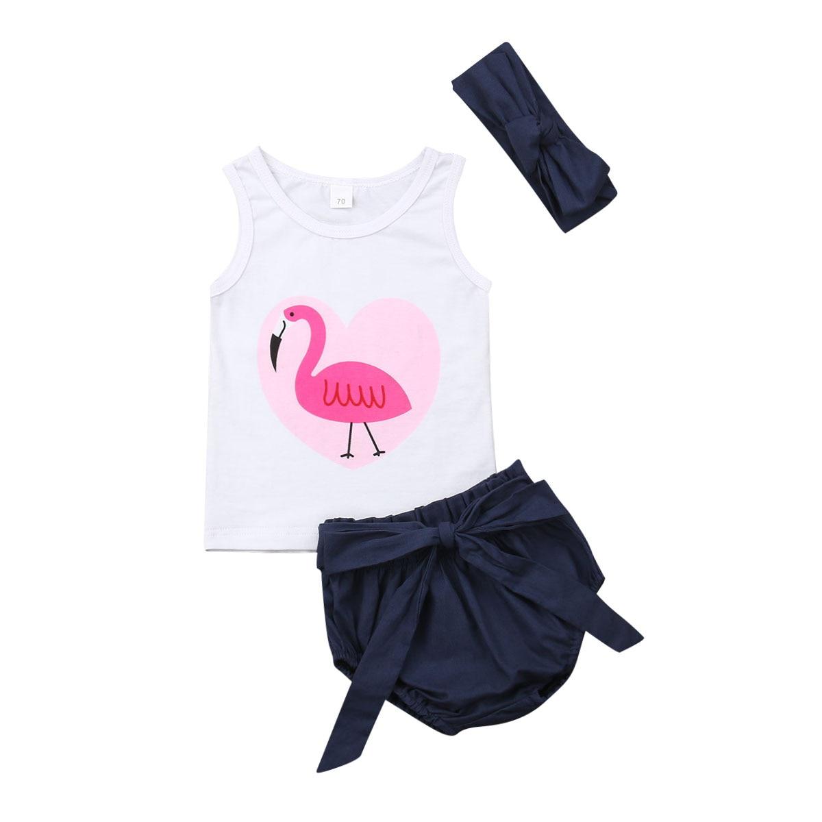 0-24 M Nette Neugeborene Baby Mädchen Ärmellose Flamingo Weste Tops Bowknot Shorts Baby Pumphose Stirnband 3 Pcs Outfits Baby Mädchen Kleidung