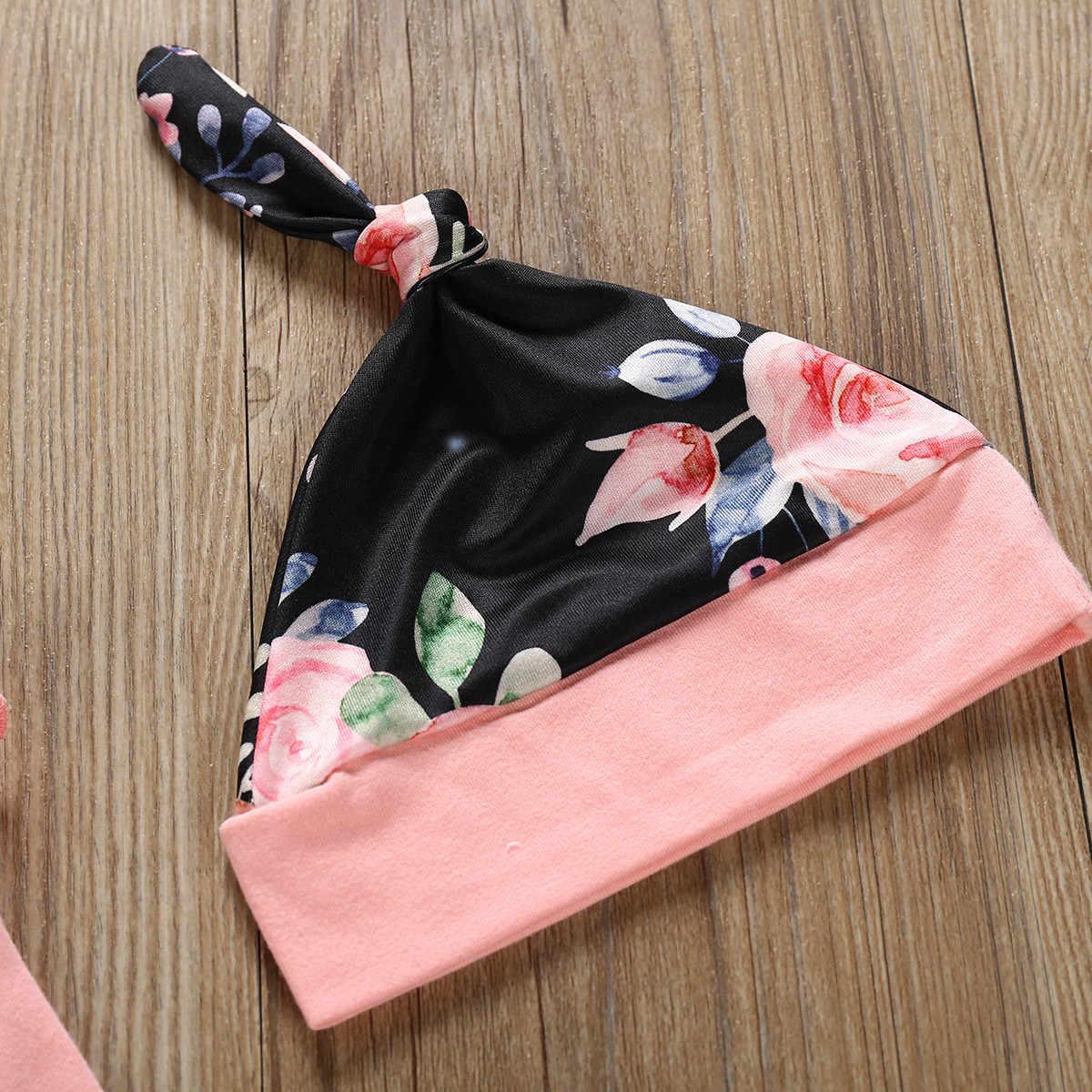 Yeni Sonbahar Bebek Kız Giysileri Setleri Bebek Yürüyor Yenidoğan Kıyafetler Mektup Romper + Baskı Pantolon + Kap Şapka seti babyborn roupa infantil