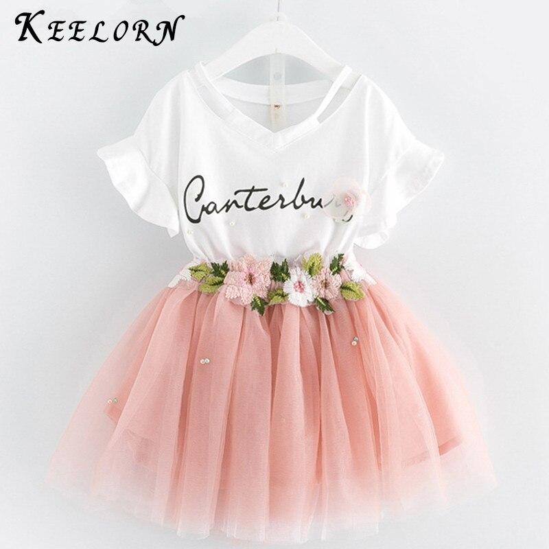 Keelorn ילדים בנות בגדים סטי 2019 קיץ מותג בנות בגדים לבן קריקטורה קצר שרוול חולצה + שמלת 2 pcs ילדי בגדים