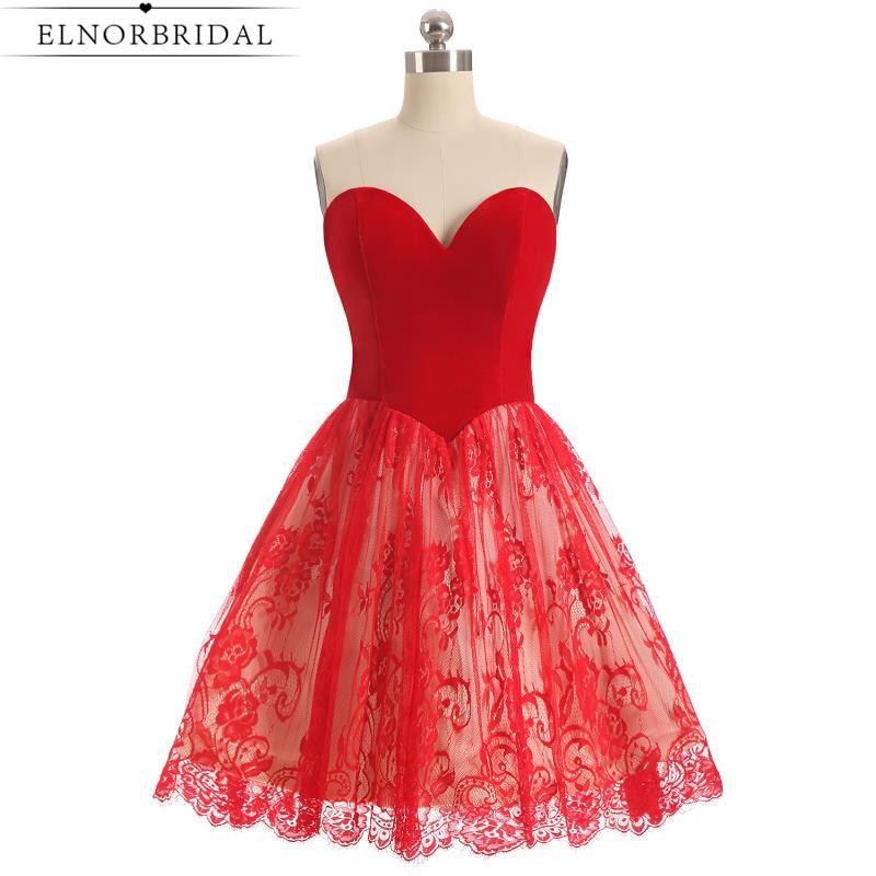 cff63411fca Короткое красное коктейльное платье 2019 милое кружевное бальное платье для  особых случаев Мини Выпускные платья Бесплатная