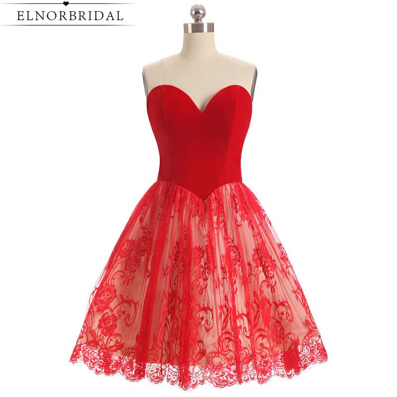 Short Red   Cocktail     Dress   2019 Sweetheart Lace Homecoming   Dresses   Special Occasion Mini Prom Gowns Free Shipping