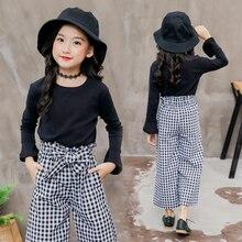 Teenager Girls Clothing Set Children Outfit 2 Pcs Black T Shirt & Plaid Pants 2019 Spring Kid 4 5 6 7 8 9 10 11 12 Year