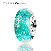 ATHENAIE Genuine Murano Glass 925 Silver Core Light Green Fluorescent Charms Bead Fit All European Bracelets