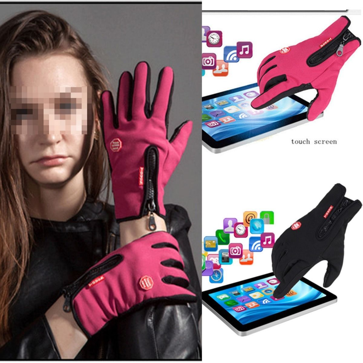 Womens pink leather motorcycle gloves - Men Women Motorcycle Winter Sports Gloves Windproof Breathable Touch Screen Unisex Outdoor Tactical Gloves Pink