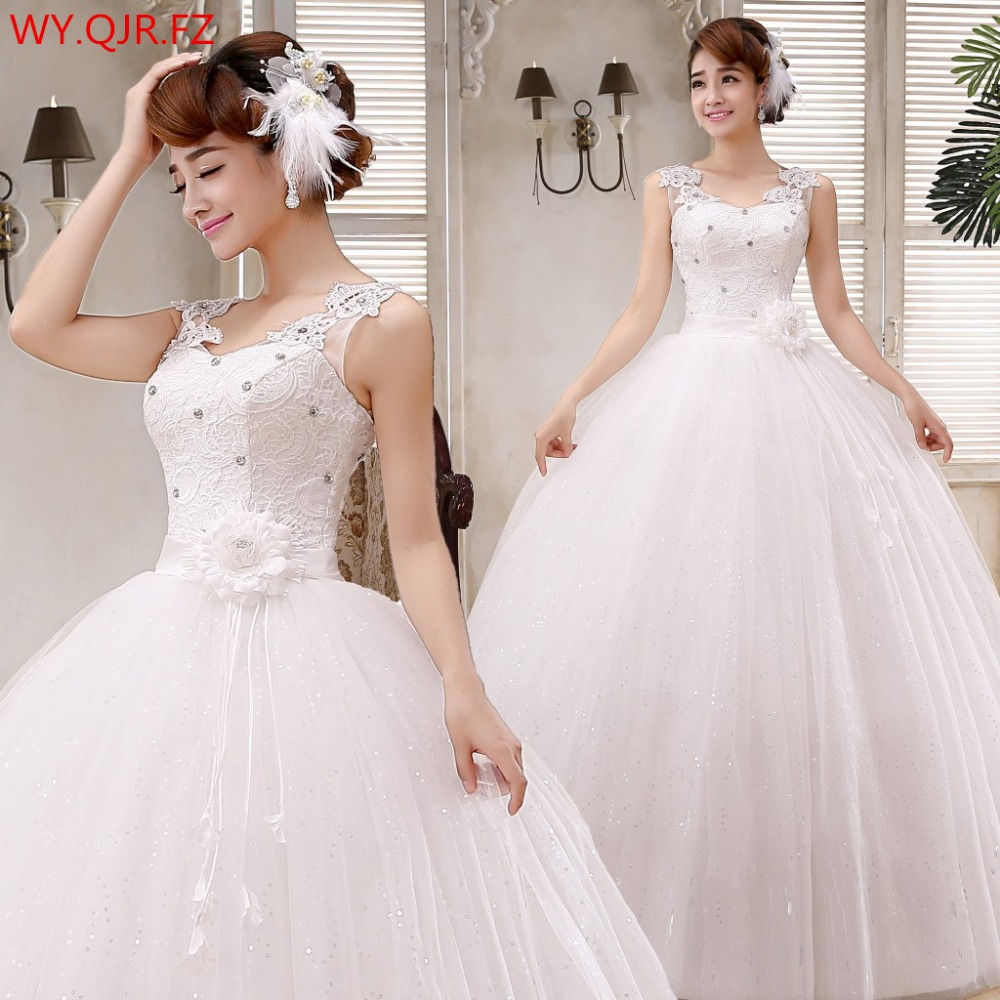 LYG H46 Glass drill long wedding dress new 2019 spring fashion shoulders bowknot plus size cheap