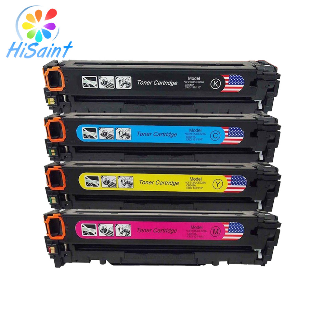 ФОТО Hisaint Listing Compatible with(125A) CB540A CB541A CB542A CB543A High Yield Toner Cartridges for Use in For HP 4PK 1B/1C/1Y/1M