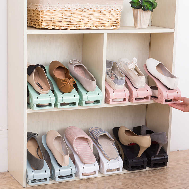 Plastic Shoe Rack Shoe Organizer Double-Wide Shoes storage Home Shoe Holder Save Space Stand Shelf for Living Room