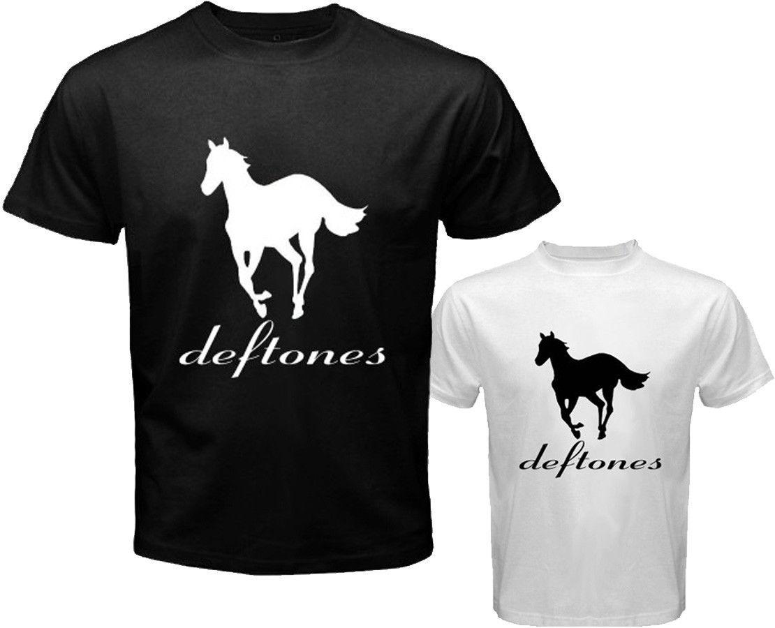 T shirt deftones white pony - Hot Cheap Men S New Deftones White Pony Rock Band Logo Men S White Black T Shirt