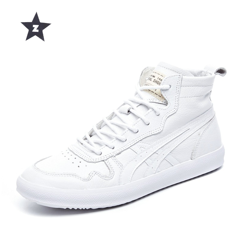 Z ankle boots women leather shoes breathable hole casual booties soft cowhide high top white sports