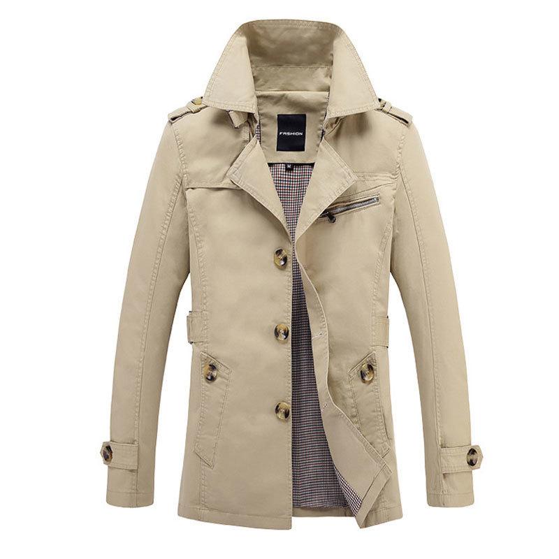 Nouveau coupe-vent homme solide Style anglais col rabattu hommes Trench Coat lavé veste simple-boutonnage régulier multicolore M-5XL
