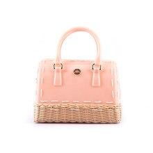 Trendy Fashion Shoulder Bag Candy Color Straw Knitting Bottom Women Casual Barrel-shaped Bag Ladies Designer Stylish Handbag