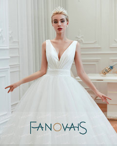 Image 5 - Fanovais Tulle V Neck Simple Elegant Ruffles Vintage Bridal Wedding Dresses Bridal Gowns Vestido de Novia robe de mariee