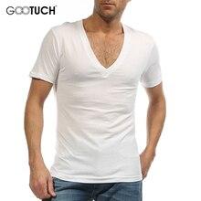 2019 Summer Plus Size Mens Cotton Undershirt Short Sleeve Fashion V Neck Vest Men Casual Underwear 5XL 6XL White Tops Tees 2458