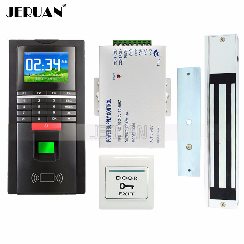 FREE SHIPPING NEW Color Fingerprint Access Control System RFID Reader TCP/IP Time Attendance Magnetic Door Lock + Access power diy full tcp ip fingerprint access control system fingerprint door access control with rfid card reader md131 magnetic lock