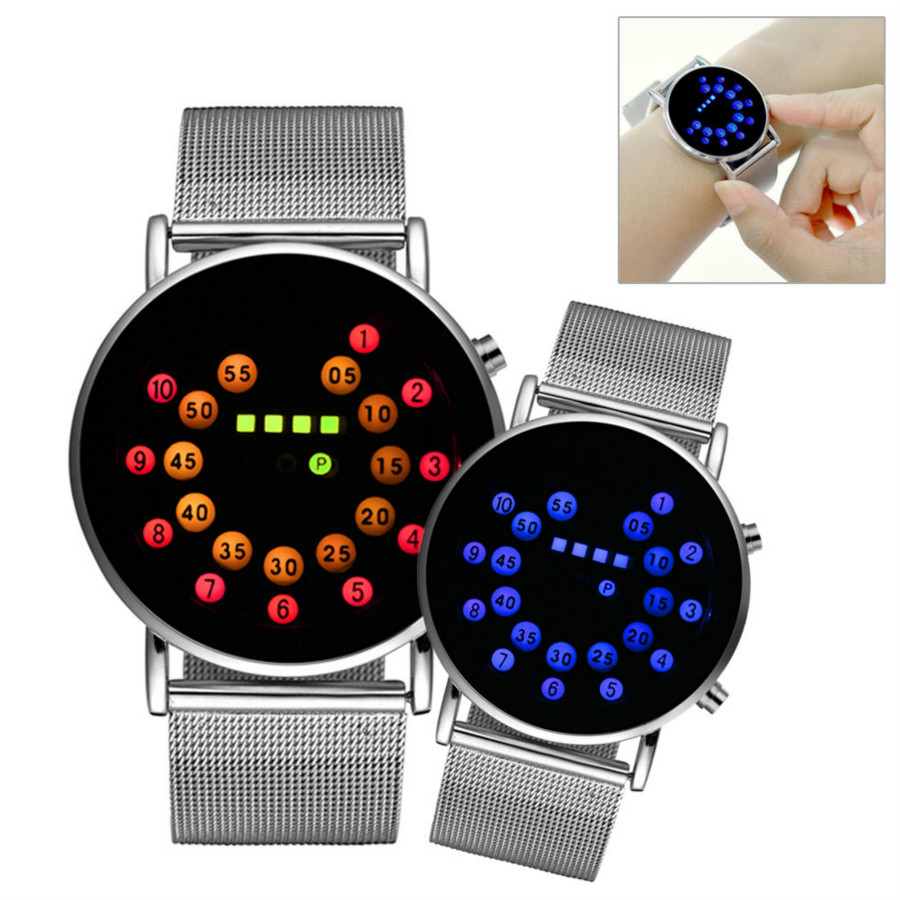 Sports New Roll Ball Analog Display Men Watches LED Watch Silver Alloy Clock Timer Men Women Boy Wristwatches