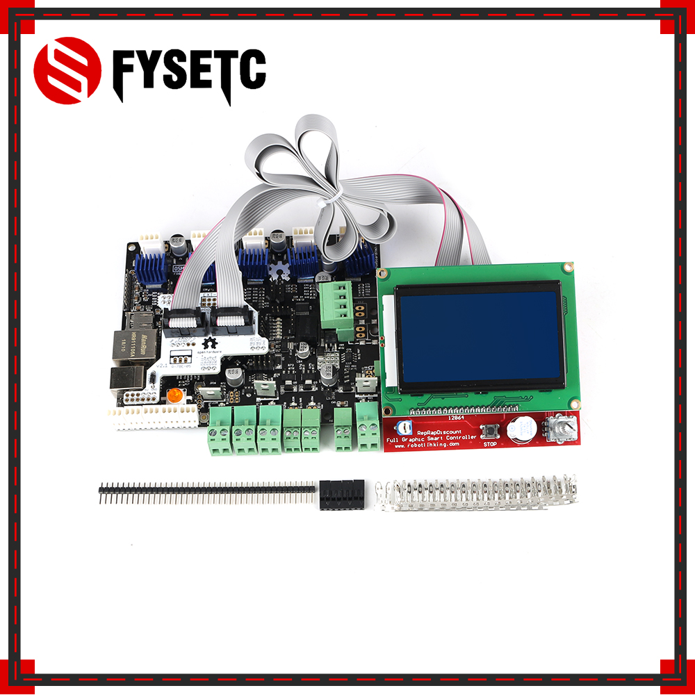 3D Printer Smoothieboard 5X 5XC V1.1 32 Bit ARM Open Source Motherboard + 12864 LCD Display + Full Graphic LCD Adapter Module