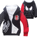 2015 Brand  Retail Fashion  Winter Boy Warm Cotton-Padded Print Cartoon Spider-Man Jacket Kids Winter Cotton Coat Hot Sale