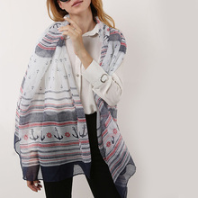 YILIAN Brand Anchor line Sunscreen Beach Women Scarf Chiffon Gift Bag Fashion Design Striped Shawl Head Girl