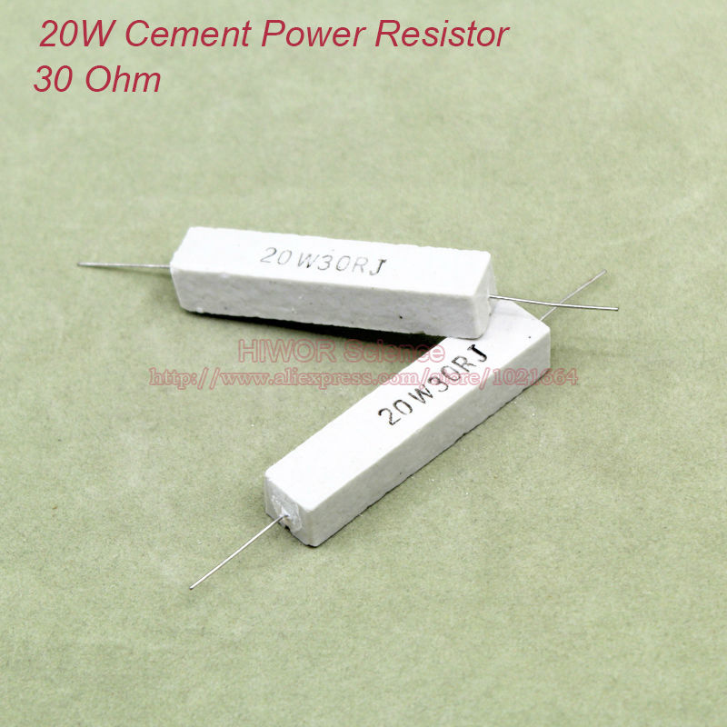 (5pcs/lot) 20W <font><b>30</b></font> <font><b>ohms</b></font> Ceramic Cement Power <font><b>Resistor</b></font> 30ohm TOL 5% <font><b>Resistors</b></font> image